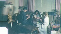 FAMILY Opening Christmas PRESENTS Morning 1960s Vintage Film Home Movie Stock Footage