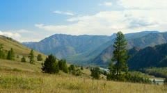 Panoramic view of a mountain ridge in the Altai mountains. 4k timelapse Stock Footage