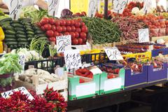 Fruit and vegetable stall - stock photo