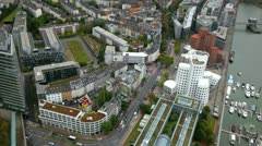 "View of ""Media harbor"" in Düsseldorf from a television tower Stock Footage"