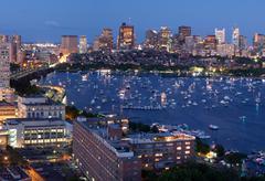 Aerial view of cambridge and boston Stock Photos