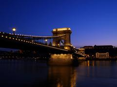 budapest chain bridge at dawn. - stock photo