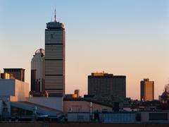 Boston back bay over mit roofs Stock Photos