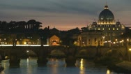Basilica St.Petre in night. River Tiber.Rome,Italy Stock Footage