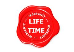 LIFE TIME warranty seal - stock illustration