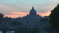 Basilica St.Petre in sunset.Rome.Italy. - stock footage