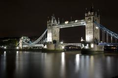 Tower Bridge at Night Close up Stock Photos