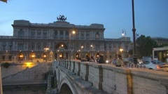 Night, Urban Traffic, Italy Rome,Palace of Justice - stock footage