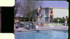 Man Diving Pool SWIMMING SLOW MOTION 1960 (Vintage Film 8mm Home Movie) 5421 Stock Footage