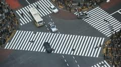 Establishing Shot Shibuya Crossing  Car Passing Traffic Street Tokyo Aerial Road Stock Footage