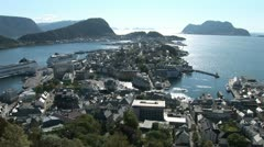 Alesund, Norway Panorama Stock Footage