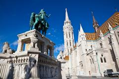 equestrian statue of st. stephen and matthias church - stock photo