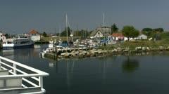 Entering Neuendorf Harbour on Hiddensee Island - Baltic Sea Stock Footage