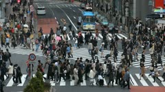 Shibuya Crossing Tokyo Busy City Street Big Crowd Urban Commuters People Walking Stock Footage