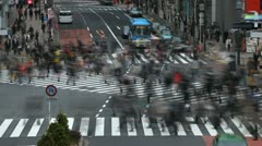 Anonymous People Cross Crowd Walk Busy City Commuters Commute Tokyo Time Lapse Stock Footage