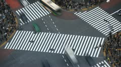 Tokyo Landmark Icon Anonymous People Crossing Crowd Walk Busy Street Time Lapse Stock Footage