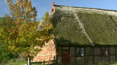Old Thatched-Roof House in Mecklenburg - Northern Germany Stock Footage