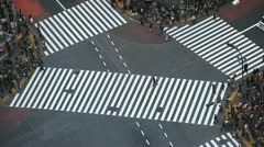 Aerial View Crosswalk Pedestrian Busy Street Crossing Tokyo Skyline People Crowd Stock Footage
