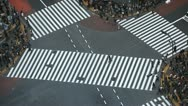 Stock Video Footage of Aerial View Crosswalk Pedestrian Busy Street Crossing Tokyo Skyline People Crowd
