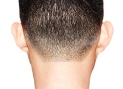 fringe of hair for men - stock photo