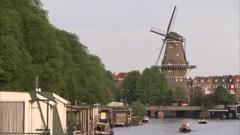 Amsterdam Windmill - stock footage