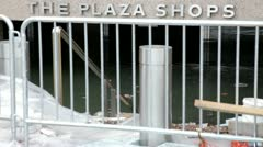 Flooded NYC plaza shops Hurricane Sandy Manhattan  - stock footage