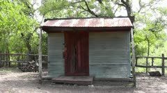 Metal Shed with Red Door Stock Footage