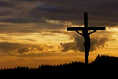 jesus christ crucifixion on good friday silhouette - stock photo