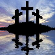 Jesus christ crucifixion on good friday silhouette reflected in lake water Stock Illustration