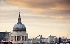 St paul's cathedral in london during beautiful winter sunset Stock Photos