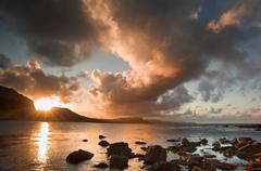 Sunrise ocean landscape mupe bay jurassic coast england Stock Photos