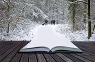 Creative concept idea of winter landscape coming out of pages in magical book Stock Illustration