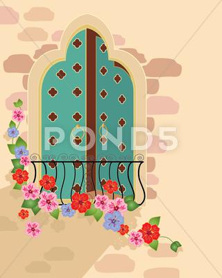 Stock Illustration of asian window