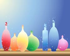 bottles on a shelf - stock illustration