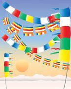 Buddhist prayer flags Stock Illustration