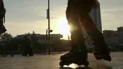 Rollerblade teenager extreme - stock footage
