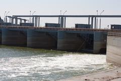 dam on the syr darya river. kazakhstan - stock photo