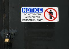 do not enter sign on door - stock photo