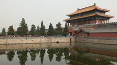 Center Beijing, Gate to Forbidden City, China, Air Pollution, Smog, Tourists Stock Footage