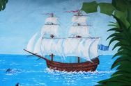 Journey on old-time sailing nave on epidemic . Stock Photos