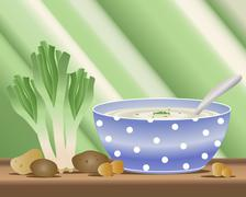 Potato and leek soup Stock Illustration