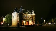 Time Lapse night view of Biologische Boerenmarkt Amsterdam, Netherlands Stock Footage