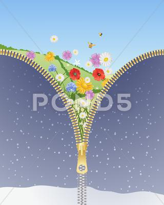 Stock Illustration of seasons change