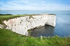 old harry rocks jurassic coast unesco dorset england - stock photo