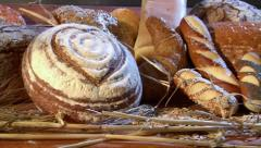 German bakery many different breads dolly right 10756 Stock Footage