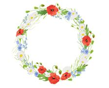 summer wildflower wreath - stock illustration