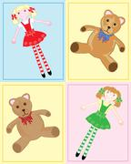 teddy bear and rag doll - stock illustration