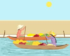 Stock Illustration of thai floating market