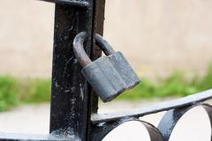 Black iron lock Stock Photos