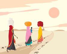 women carrying bundles - stock illustration